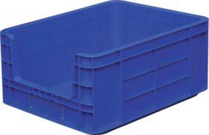 Ящик п/п 490х400х235 синий сплошной с вырезом