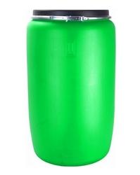 Пластиковая бочка 227 л с крышкой на обруче зеленая